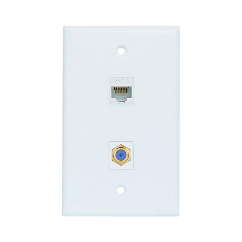 - ESYLink AL304 Ethernet Coax Wall Plate - Cat6 Coax Wall Plate with 1 Ethernet Port + 1 TV Coax Cable/F-Type Connector - White