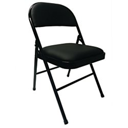 Padded Vinyl - Realspace(R) Vinyl Padded Folding Chair, 29 3/4in.H x 18 1/2in.W x 19 5/8in.D, Black