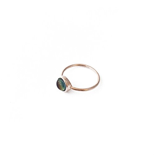 HONEYCAT Mood Ring in Gold, Rose Gold, or Silver | Minimalist, Delicate Jewelry (Rose Gold, 5) (Free Rings Mood)
