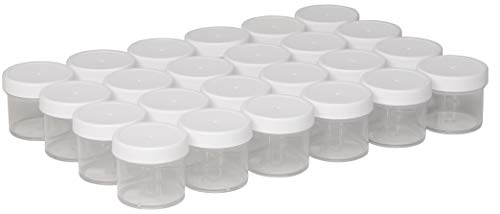 Four Plastic Jars - North Mountain Supply 2 Ounce Polystyrene Clear Plastic Straight Sided Spice/Storage/Cosmetic Jars - with White Plastic Lids - Case of 24