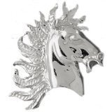 CleverEve 14K White Gold Horse Head Pendant 19.3 Grams