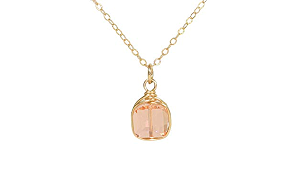 Peach Crystal Ball Glass Sphere Necklace,Wire Wrapped Pendant,Necklace