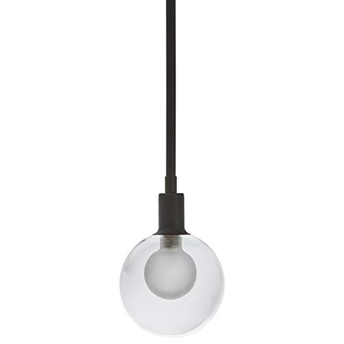 Rivet Mid-Century Modern Ceiling Hanging Glass Globe Pendant Fixture With Light Bulb - 5 x 5x 10 Inches, Black