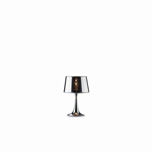 Ideal Lux LONDON TL1 SMALL E27 Cromo lampara de mesa - Lamparas de mesa (Cromo, Metal, PVC, Dormitorio, Habitacion de los ninos, Salon comedor, Salon, IP20, E27, 1 bombilla(s))