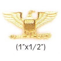 (COLONEL EAGLE GOLD UNIFORM COLLAR BRASS PINS INSIGNIA EMBLEM ARMY MILITARY POLICE, SMALL 1