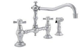 Newport Brass 945-1 Fairfield Double Handle Bridge Kitchen Faucet with Metal Cro, Satin Nickel