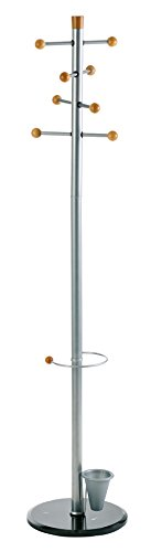 Stand with 8 Knobs and Umbrella Stand, Metal Grey, 69 x 15 Inches (2807) ()