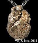 Yellow Bronze Anatomical Heart Necklace - Zombie Jewelry