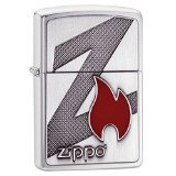 Zippo Big Z Flame Emblem Logo Pocket Lighter, Brushed Chrome