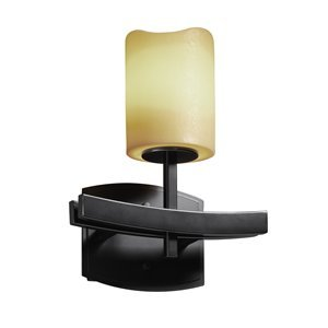 Justice Design CNDL-8591-30-CREM-MBLK Archway One Light Wall Sconce, Glass Options: CREM: Cream Shade, Choose Finish: Matte Black Finish, Choose Lamping Option: Standard Lamping