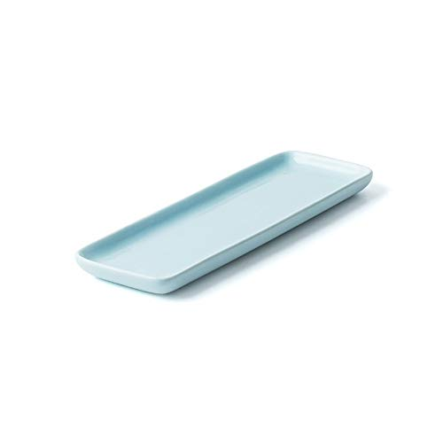 XQJDD Hotel ceramic tableware Japanese long strip flat sushi plate high temperature glaze color creative tableware rectangular dish sky blue 32.4x10.8x1.8cm