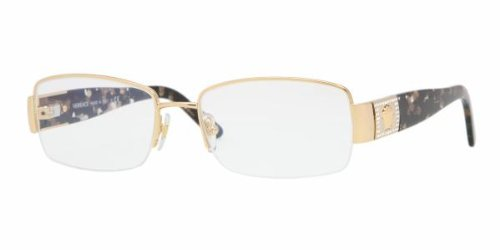 Versace VE 1175B Eyeglasses w/ Gold Frame and Non-Rx 53 mm Diameter Lenses,