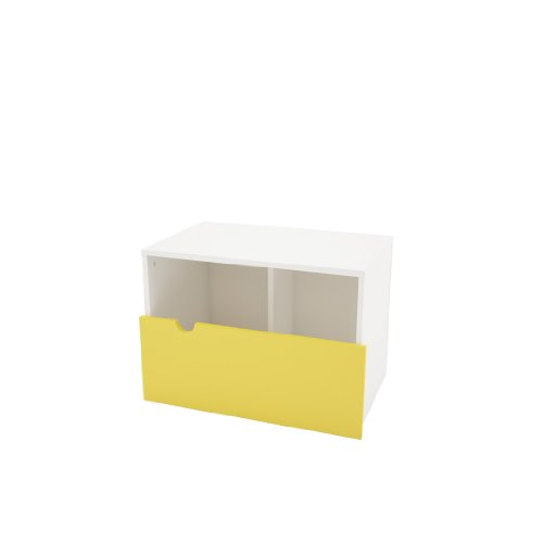 Taxi 332038 Mobile Night Stand/Bench from Nexera, White and Yellow by Nexera