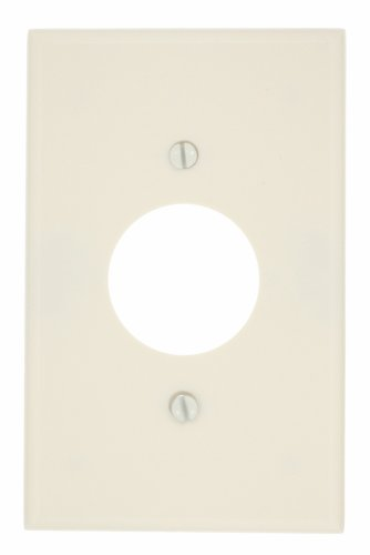 Single Plate Outlet Wall (Leviton 80504-T 1-Gang Single 1.406-Inch Hole Device Receptacle Wallplate, Midway Size, Light Almond)