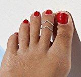 Zehui Lady Elegant Simple Adjustable Gold Silver Metal V Toe Ring Foot Beach Jewelry Silver