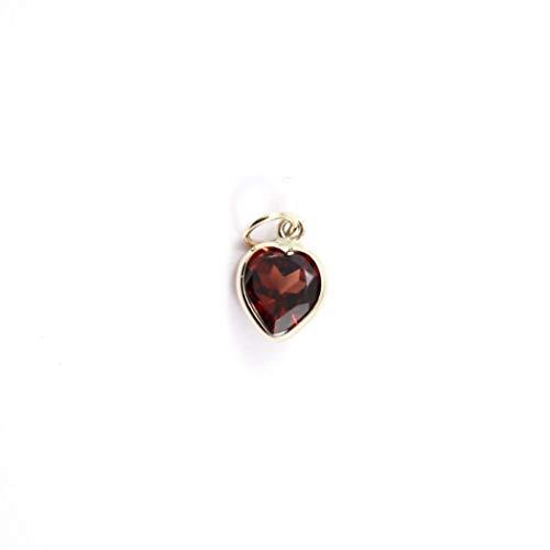 (Genuine Garnet Handmade Pendant (6mm Heart Shape) Set In 14K Yellow Gold)