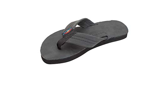 Black Kid Leather - Rainbow Sandals Kids Leather Flip-Flops - Premier Black 4-5