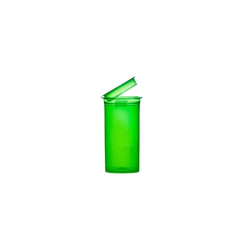 13 Dram, Pack of 10, Green Waterproof Airtight Smell Proof Stash Box Odor Sealing Container Prescription Vial Bottle with Child Resistant Squeeze Top Cap