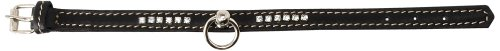 Petego La Cinopelca Flat Calfskin Collar with Crystals, Black, Small, 1/2-Inch by 11-Inch