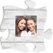 White Crackled Wood Look 12 x 12 inch Wood Puzzle Piece Wall Sign Frame Plaque -