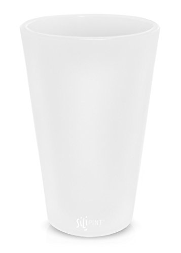 Silipint Silicone Pint Glass, Patented, BPA-Free, Shatter-proof, Unbreakable Silicone Cup Drinkware (Single, Frosted White)