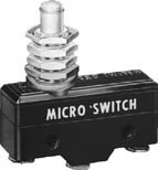BZ-3RQ1-A2, Micro Switch Basic Switches: BZ Series, Single Pole Double Throw (SPDT), 15 A at 250 Vac, Overtravel Plunger Actuator, 3,89