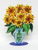 David Gerstein Metal Art Sunflower Flowers Modern Vase Sculpture (David Metal Vase)