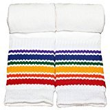 Pride Socks - Rainbow Striped Athletic Tube Socks - 19