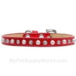 Mirage Pet Products Pearl and Jewel Ice Cream Collar, 10-Inch, Red