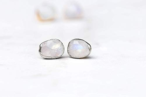Rainbow Moonstone Earrings, Sterling Silver, Rose Cut