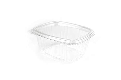 (Clear hinged Container, Deli Container, Produce Container, Dips & Spreads, Recyclable, BPA Free, Made in The USA. 200 Pieces per case.)