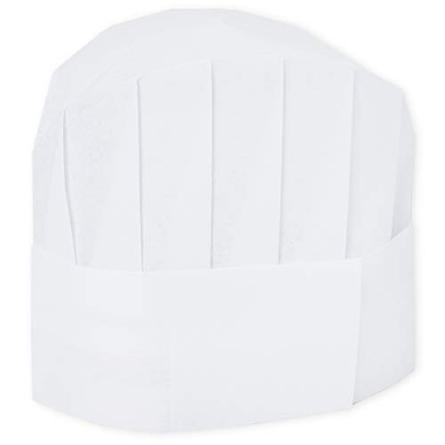 Chef Hats - 24-Pack Disposable White Paper Chef Toques, Chef Supplies, Adjustable Professional Kitchen Chef Caps for Baking, Culinary Hygiene, Cooking Safety, 20-22 Inches in Circumference]()