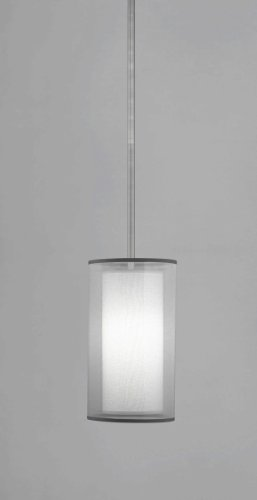 (Robert Abbey S2196 Mini Pendants with Silver Transparent Exterior and Ascot White Fabric Interior Shades, Stainless Steel Finish)