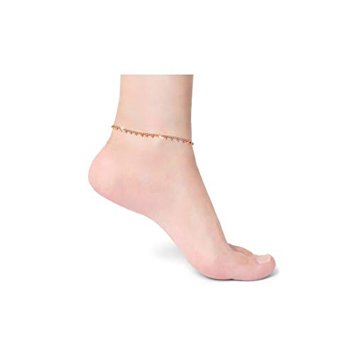 COLROV Dainty 14k Gold Ankle Bracelets for Women Teen Girls Cute Foot Jewelry Anklets Color Gold Beads Shape ()