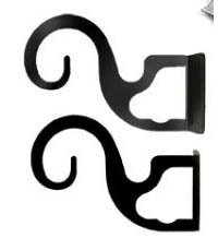 Village Wrought Iron Curtain Brackets For Two or Three 3/4 Inch Rods