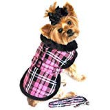 Doggie Design Pink Classic Plaid Wool/fur Collared Harness Coat W/leash Size Small (Chest 13-16, Neck 10-13, Weight 6-10lbs.)