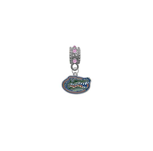 Florida Gators Pink Rhinestone/Gem Charm with Connector - Universal European Slide On Charm - Classic & Original Style Perfect for Bracelets, Necklaces, DIY Jewelry
