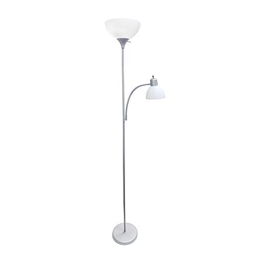 Light Torchiere Reading - Simple Designs Home LF2000-SLV Floor Lamp with Reading Light, Silver