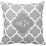 Gray White Moroccan 5 Gray 3 Initial Monogram Throw Pillow Case