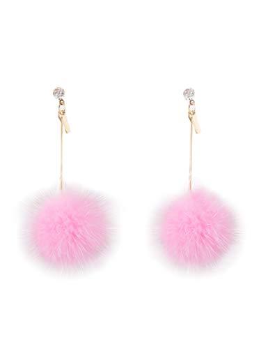 Ilishop Fashion Fur Pom Pom Ball Dangle Earrings Pink Free
