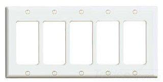 Leviton 80423-W 5-Gang Decora/GFCI Device Decora Wallplate, Standard Size, Thermoset, Device Mount, White, 10-Pack