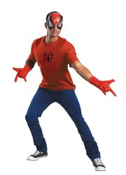Disguise Men's Marvel Spider-Man Adult Kit, Red/Black, One Size (Mens Black Spiderman Costume)