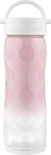 Lifefactory 16-Ounce BPA-Free Glass Water Bottle with Classic Cap and Silicone Sleeve, Pink -