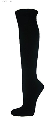 Couver Premium Quality Youth/Kids Knee High Cotton Softball, Baseball, Multi-Sports Socks(Black, Youth Medium)