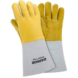 Radnor X-Large Gold 14'' Grain Elkskin Foam Lined Welders Glove. (2 Pairs)