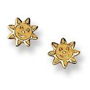 Bébé souriant soleil Stud Boucles d'oreilles en or jaune 14K