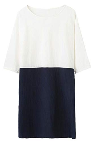 3 Crewneck Dresses 4 Linen Contrast Pocket Cromoncent Solid Women Navy Color Sleeve wqH4ZZxE