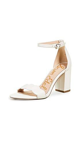 Sam Edelman Women's Odila Ankle Strap Sandal Heel Bright White Dress Nappa Leather 4.5 M US