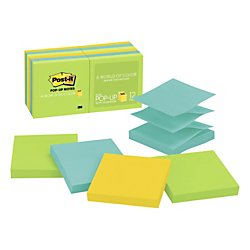 Post-it Pop-up Notes, 3 in x 3 in, Jaipur Collection, 12 Pads/Pack (R330-12AU)