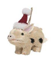 On Holiday Sisal Pig Beige with Black Spots Wearing Santa Hat Christmas Tree ()